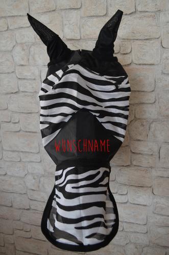 Fliegenmaske Zebra mit Wunsch-Bestickung